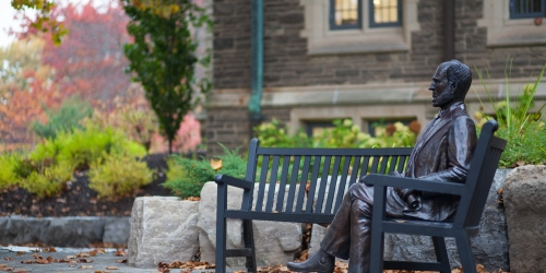 McMaster University Statue on Bench